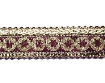 Burgundy Beige 2 cm x 1 m Gold Ribbon