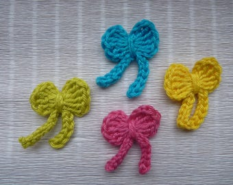 set of 4 mini bow hot pink, lime green, turquoise and yellow crochet cotton