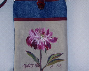 Beige cotton denim and Burgundy flower bag