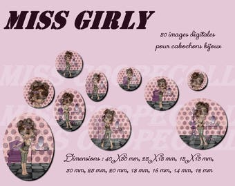 """80 images for collage digital cabochons, jewelry print """"miss girly"""" pink, Plum, girl"""