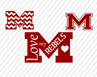 ole miss rebels svg, mississippi state cuttable digital file, cricut file, silhouette  files, svg cutting files, ole miss rebels logo svg
