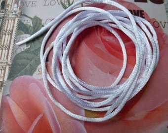 Rattail Cord 2 mm for jewelry and sewing manual creations white satin