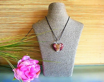 Plum pattern heart pendant necklace gold Murano style on silk cord