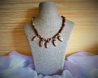 Athena necklace Terra cotta beads and gold tone CCB beads