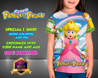 super Princess Peach Birthday Shirt,  Custom Shirt, Personalized Mario Shirt, super Princess Peach family shirts, Birthday t-shirts