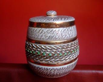 Tobacco box porcelain France Art * 14cm * ivory Green Gold Brisdoux L.