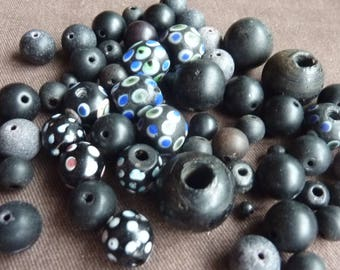 ethnic and vintage black glass beads