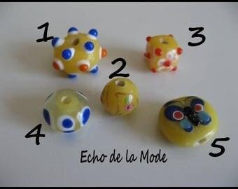 Set of 5 beads glass style lampwork artisan set 2