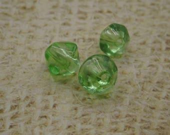20 green bicone glass artisan Mexico 8 mm bicone beads