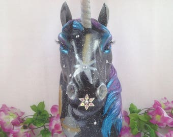 Hand painted 'celestial galaxy' unicorn head wall mount