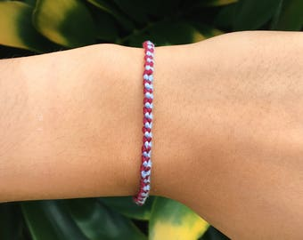 Simple Knotted Friendship Bracelet: Light Blue + Maroon