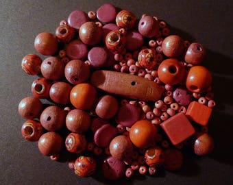 145 wood coco Brown storm of various shapes and wooden beads