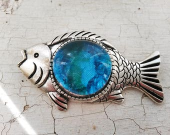 Brooch Blue fish