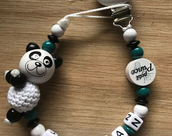 Pacifier clip personalized - panda theme - model jordan