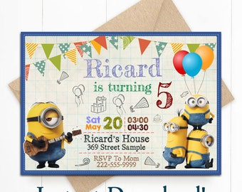 Minion Birthday, Minion Invitation, Minion Instant Download, Minion Editable, PDF Template, Minion Editable Invitation, Minion Invite
