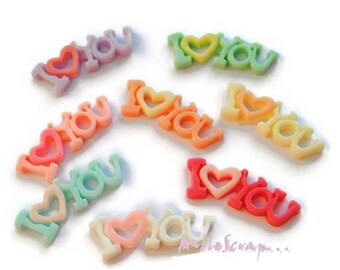 """Set of 8 """"I love You"""" multicolored resin scrapbooking card making *."""
