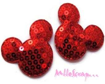 Set of 2 heads red sequins embellishment (ref.310) scrap fabric *.