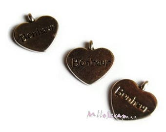 "Set of 4 heart ""happiness"" scrapbooking embellishment charms *."