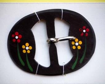 Boucle de ceinture vintage neuve 55x40mm noire avec fleurs peintes