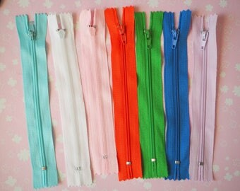 7 x zippers zip 14, 5cm, assorted colors (as pictured)