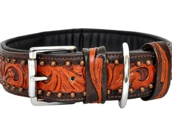 "Leather Dog Collar, Padded, 1.75"" Wide with Hand Carving"