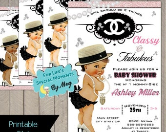 Custom Chanel Baby Shower Invitation- Printable file- It's a Girl Coco Chanel Baby Shower Invite