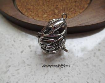 PENDENTIF CAGE CYGNE  bali bola mexicain 2.9 cm argenté pour boule Bola musicale bijou maternité