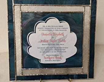 Stained Glass Wedding Invitation Keepsake Frame ~ Double Floating Frame for Unusually Shaped Invitations ~ Custom Made to Your Orders