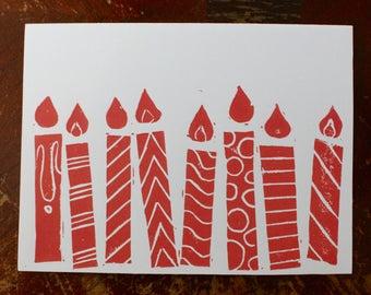 Handprinted Birthday Linocut Candles