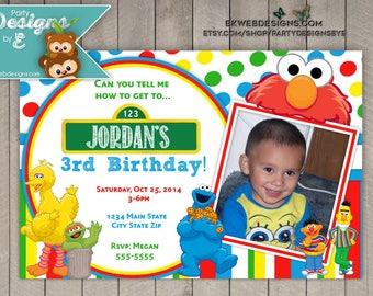 Sesame Street Birthday Invitation - Elmo birthday invitation with photo