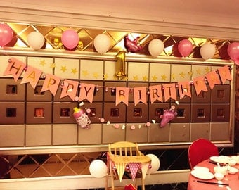 pink and Gold Birthday Party Decorarations. Glitter Gold Happy Birthday Banner. Happy Birthday Banner Butterfly style, Birthday Decoration