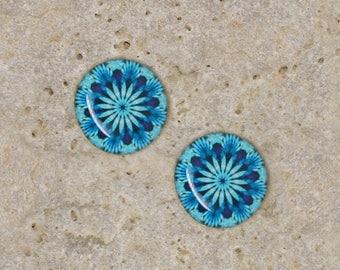 2 round cabochon 14 mm resin turquoise kaleidoscope print