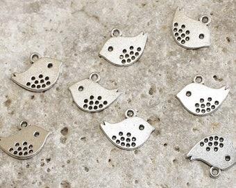 8 charms silver birds
