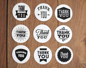 "9 decals / stickers / tags ""thank you"" gift wrap"