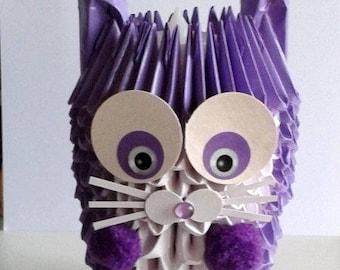 Veilleuse façon bougeoir, lapin violet, papier plié origami 3D
