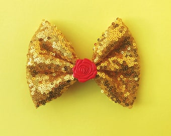 Belle Hair Bow Rose Beauty and the Beast Disney Inspired Bow