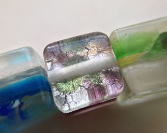 lot 4 silver cube square lampwork beads multicolored glass millefiori handcrafted ~ 8mm /98/