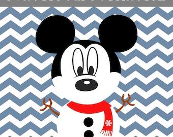 mickey christmas Svg, mickey snowman, Pdf, EPS, PNG, Dxf, Vector, mickey christmas snowman, mickey christmas Svg, mickey marry christmas,