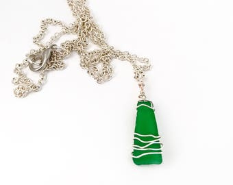 Green Sea Glass Adjustable Necklace