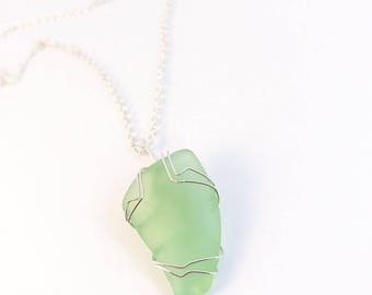 Sea foam sea glass necklace with adjustable chain