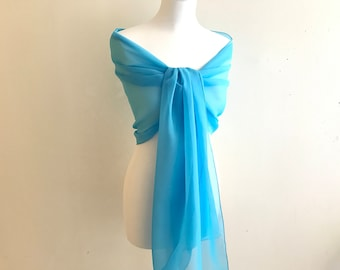 light blue chiffon stole wedding 200/50 cm stole wedding/baptism/party/cocktail