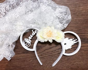 Bride Floral Mickey Ears with Lace Veil