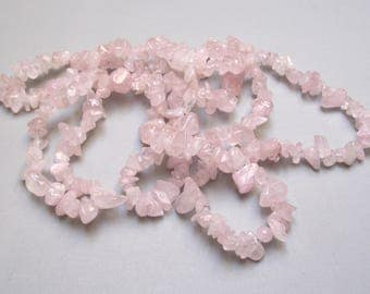320 beads 6/10 mm pink quartz stone chips.