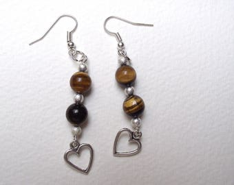 Dangle earrings Tiger eye.