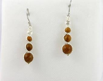 Wood Lace Stone beads earrings.
