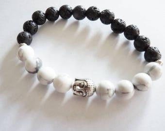 Tibetan Howlite and lava bracelet