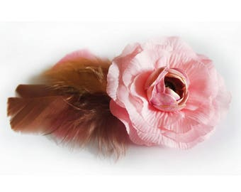 Fascinator - Hair clip feathers and pink flower