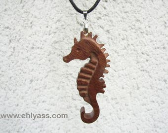 """""""Seahorse"""" 3 carved wooden pendant"""
