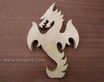 Solid wood fretwork Dragon sculpture