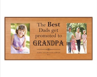 """Personalized Grandpa Picture Frame, Granpa Gift, """"The best Dads get promoted to Grandpa."""" Custom Grandparents frame, Double Photo Frame"""